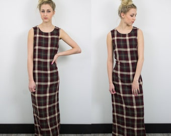 Vintage Plaid Thin Maxi Dress vtg 49