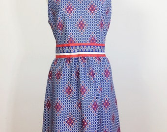 Vintage Floral Dress / red white and blue dress / 60s Floral