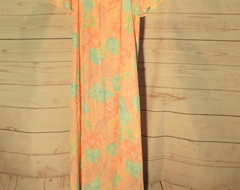 60's 70's Womens Vintage Maxi Long Soft Nightgown Sleepwear - Pink Floral - Small - Tricot Satin - rn 15411 - U.S.A.