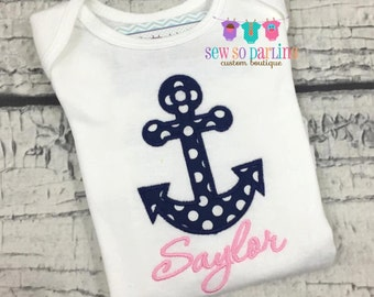 Baby Girl Anchor outfit - Nautical outfit - Baby Girl Clothes - Girl Nautical Shirt - baby girl shirt - personalized baby girl clothes