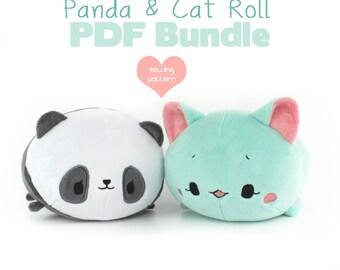 "PDF sewing pattern bundle - Panda and Cat Roll loaf stacking plush - easy kawaii cute DIY 12"" large anime plushie stuffed soft toy"