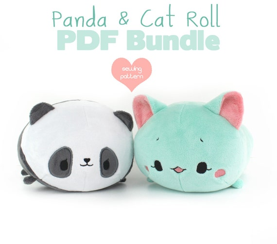 PDF sewing pattern bundle - Panda and Cat Roll loaf stacking plush ...