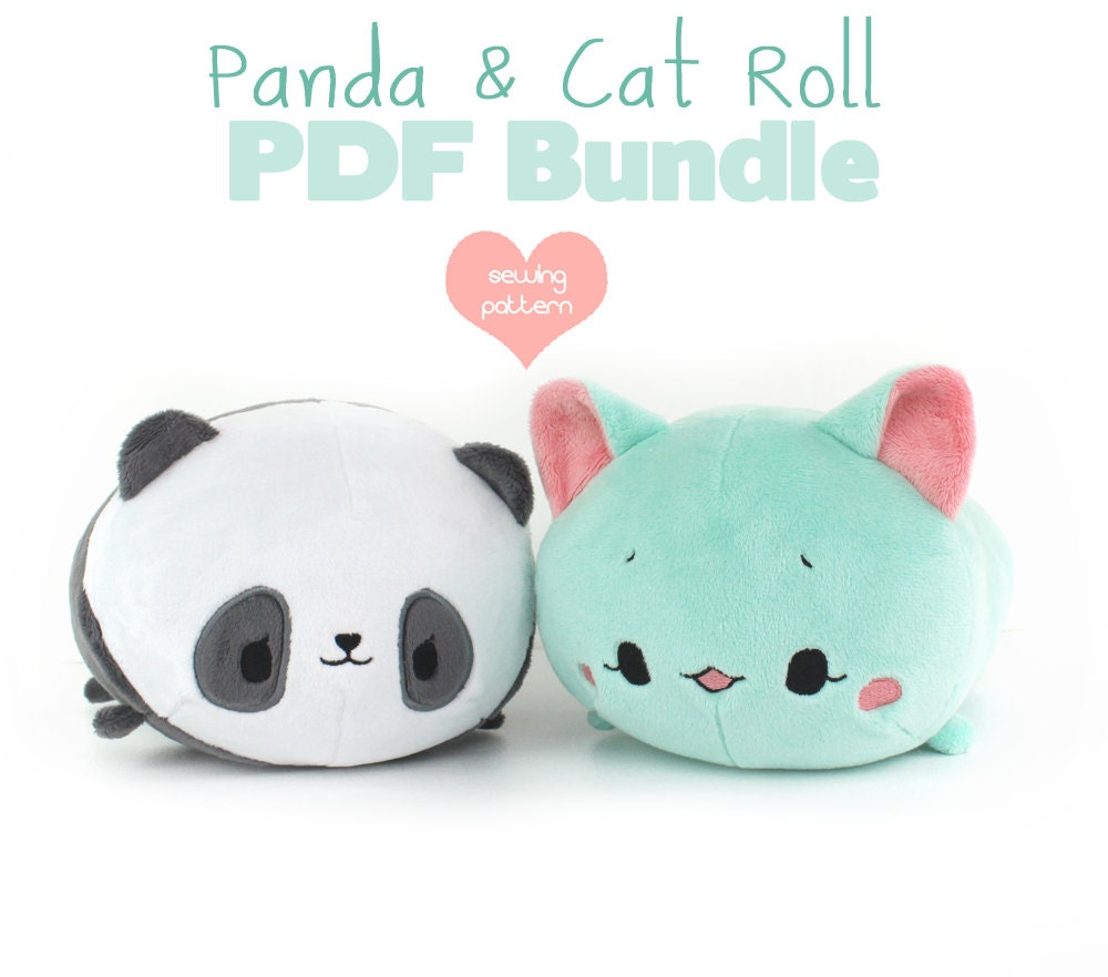 Pdf Sewing Pattern Bundle Panda And Cat Roll Loaf