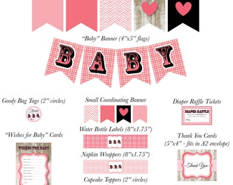 Pink Bun in the Oven, Baby Q Baby Shower Decorations Package Printable