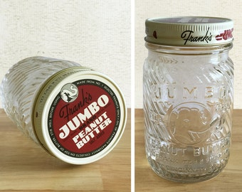 Vintage Jumbo Peanut Butter 1 LB Jar with Original Lid and Embossed Elephant / Frank's Jumbo Peanut Butter Jar / Vintage Advertising
