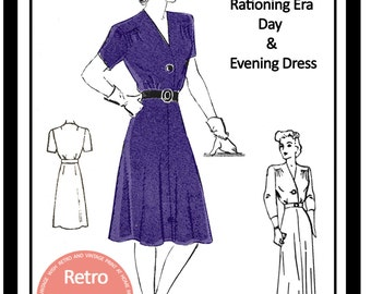 1940s Wartime Frock Sewing Pattern -  PDF Full Size Sewing Pattern - Instant Download -40s Wartime Dress Pattern