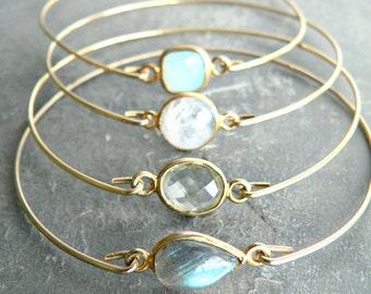 Precious Gemstone Gold Bangle Bracelet Set