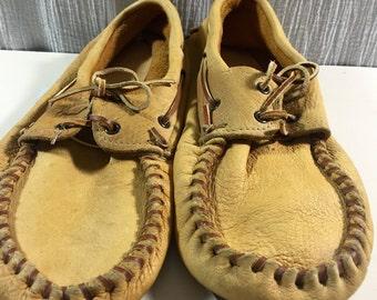 Vintage Tribal Hand Made  Elk/Buckskin Leather Moccasin Loafers Men's Size 12