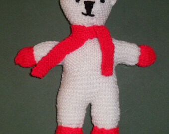 "KNITTED TEDDY.White Teddy.10"" soft toy."