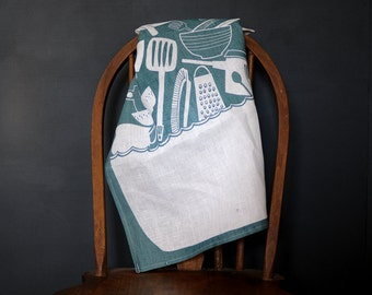 Screen Printed Linen Dish Towel - Sink Full of Dishes - Navy on White
