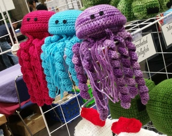 Crocheted Jellyfish! The Cutest Handmade Jellyfish Around! - Purple, Pink, Green, Blue plus more Colors available by Request.