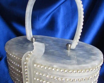 Vintage Rare Wilardy Rows of Rhinestones Lucite Purse, on the Purse, Clasp and Handle - STUNNING B16