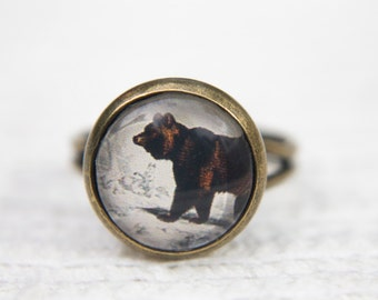 Bear Ring, Brown Ring, Brown Bear, Animal Ring, Adjustable Ring, Glass Dome Ring, Animal Jewellery, Bear, Gifts for Her, Everyday Ring