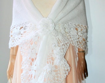 Hand Knitted Crocheted Triangle Shawl white