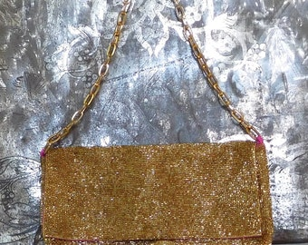Gold Beaded Clutch Chain Strap Purse Hot Pink Fabric Vintage Bags Christiana Shoulder Bag Purse