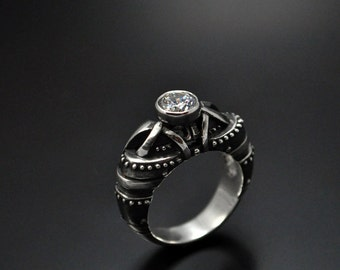 sterling silver unconventional ring regrediendum steampunk silver engagement ring contemporary diamond engagement - Steampunk Wedding Rings