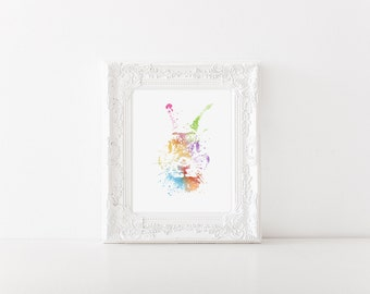 Watercolor Bunny Print - Bunny Art - Bunny Watercolor Art - Nursery Decor - Easter Decor - Colorful Wall Art - Watercolor Prints
