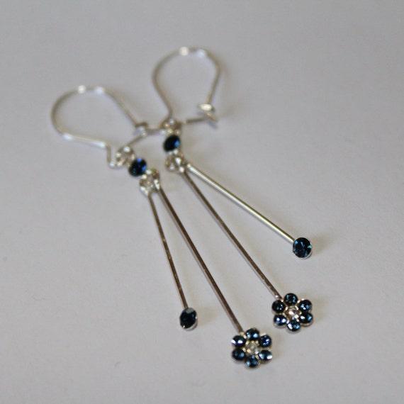 Dainty Drop Blue Earrings, Blue and Silver Long Drop Earrings, Minimalist Simple Dangle Earrings