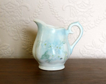 CLEARANCE SALE Small China Pitcher, Handpainted Blue Forget Me Nots
