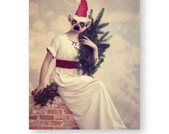 """Christmas Kitsch Lemur Wall Art Anthropomorphic Animals In Clothes Photography Art (3 Sizes) Gift For Her, """"Olive's Christmas Portrait"""""""