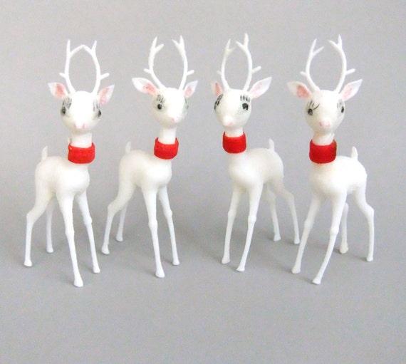 Kitsch Christmas Deer, Solid Plastic Reindeer, Plastic Deer, Kitschy Christmas Decor, Vintage White Reindeer