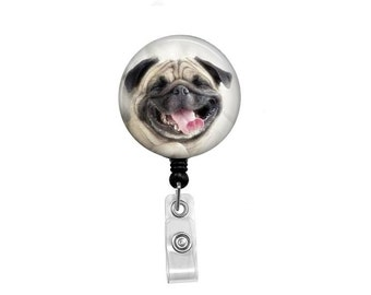 Retractable Badge Reel - Dog ID Badge - Badge Reels - Funny Dog Badge Reel - Funny Badge Reel - Pug Badge Reel - Funny Pug