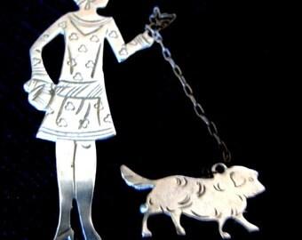 Art Deco 1920s silver brooch flapper walking dog