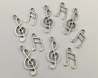 10 antique silver music note charms,16mm to 23mm # CH 304