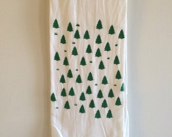 Forest Tea Towel, Screen Printed Flour Sack Towel