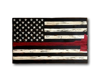 Thin Red Line Flag- Firefighter Axe Sign- Firefighter Gift- Firefighter Wood Flag- Thin Red Line Pallet Wood Flag