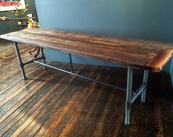 Reclaimed Wood Rustic Modern Dining Table with Pipe Base Trestle – MADE TO ORDER
