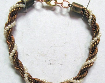 OOAK Hand Made Copper Bracelet with Miniature Braided Pearls 11