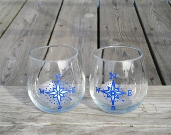 Nautical Compass Rose Stemless Red Wine Glass Set of 2 | FREE SHIPPING
