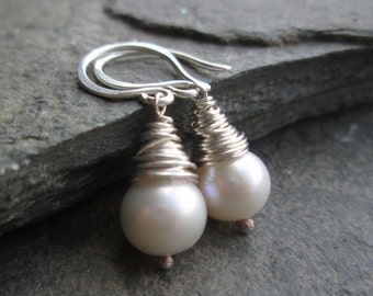 SALE Pearl Earrings - Pearl Jewelry, Pearl Jewellery, Real Pearl Earrings, Wedding Jewelry, Bridal Jewellery, Christmas Gift, Gift for Her
