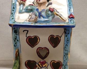 "Heather Goldminc Vintage ""Queen of Hearts"" Ceramic Art Piece w. Elaborate Design"