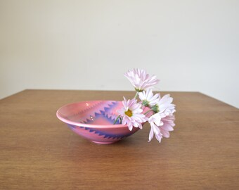 Vintage Pink Ceramic, Dish, Tribal Inspired Pattern, Catch All