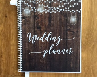 Wedding Planner Book-Wedding Organizer-Engagement Gift-Wedding Planning Guide-Wedding Keepsake-Bridal Shower-Rustic Barnwood-String Lights
