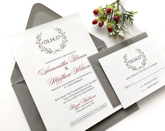 Winter Wedding Invitations - Printed Grey and Burgundy With Wreath Wedding Invitation Suite - Holiday Wreath with Red Wedding Invitation