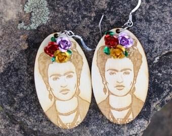 "2"" ¡VIVA LA FRIDA! Frida Kahlo Wood Oval Earrings"