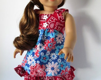 Red and Blue Rodeo Cowgirl Dress for 18 inch dolls
