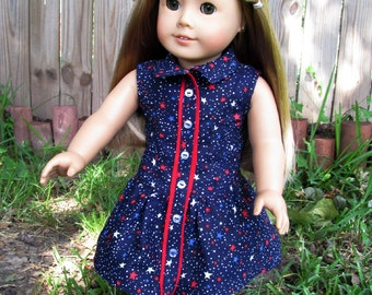 18 Inch Doll Clothes, Girl Doll Clothes, Red, White & Blue Star Spangled Dress, Made to fit 18 Inch dolls such as American Girl dolls