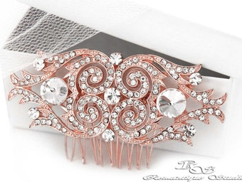 Wedding hair accessory rose gold bridal hair comb crystal bridal hairpiece haircomb hair piece bridesmaid hair comb Art Deco 5165RG