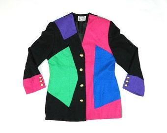 Vintage Color Block Blazer