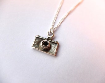 Camera Necklace - Handmade with Silver Plated Chain
