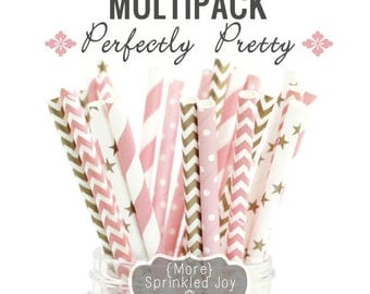 Light Pink, Gold, Paper Straws, Multipack, Pinks and Golds, Perfectly Pretty, Chevron, Dots, Vintage, 25 Straws, 5 Designs