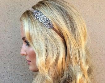 Silver Gatsby Headband 1920s Headpiece for great gatsby dress, flapper dress, Bronze Gatsby Headpiece, gold Great Gatsby Headpiece BRONZE