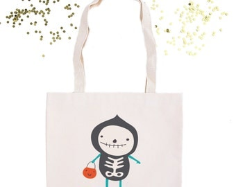 Ghost Halloween Personalized Tote Bag// Personalized Trick or Treat Candy Bag // Trick or Treating Custom Bag