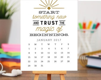 50% OFF! Printable 2017 Desk Calendar - 12 month Inspirational and Motivational Quote Designs - Instant Download