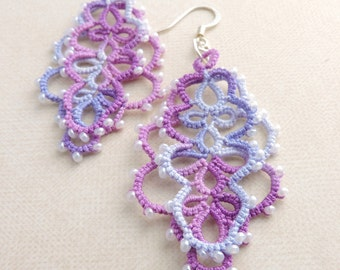 Lilac and Grape Lace Layered Earrings with White Czech GlassBeads - Silver Plated