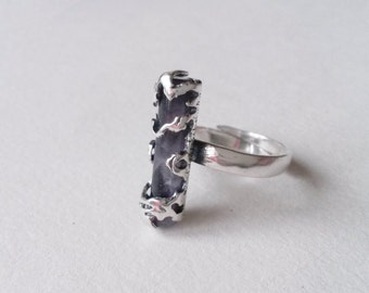 Vintage modernist silver and amethyst ring, 1970s (F282)